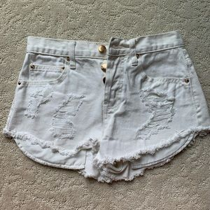 Forever21 White Distressed Denim Shorts